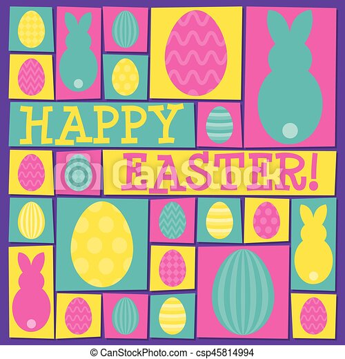 Funky Easter card in vector format. - csp45814994