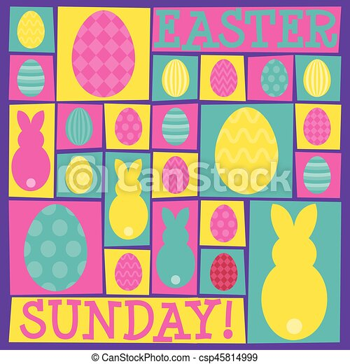 Funky Easter card in vector format. - csp45814999