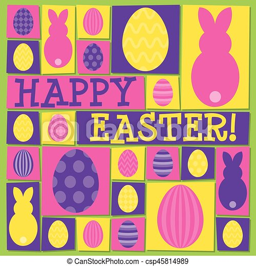 Funky Easter card in vector format. - csp45814989