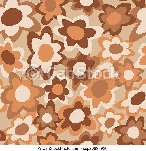 Funky Flowers Pattern Brown - csp20693920