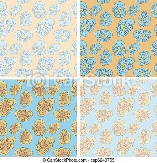 Funky Flowers Seamless Pattern - csp6243755