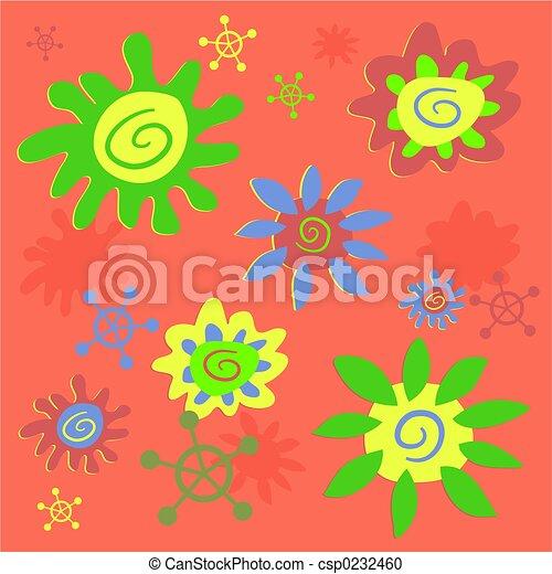 funky flowers tile - csp0232460