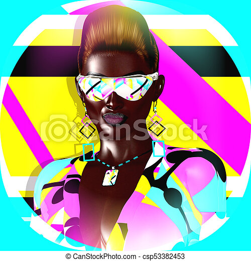 Funky girl with a geometric shapes background, a punk hairstyle and sunglasses - csp53382453