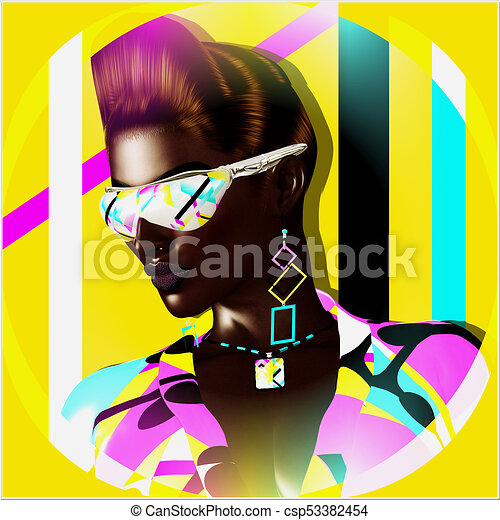 Funky girl with a geometric shapes background, a punk hairstyle and sunglasses - csp53382454