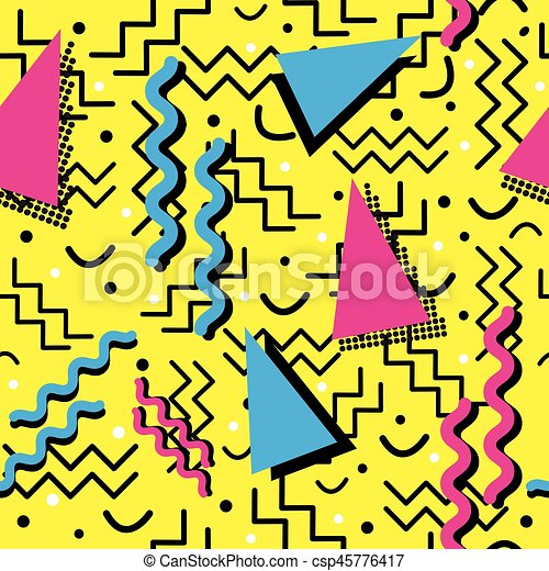 Funky Memphis Pattern on Yellow - csp45776417