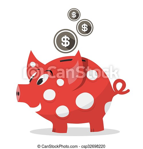 funky red money pig piggy bank with dollar coins vector vector rh canstockphoto com Post Office Clip Art Bank Deposit Clip Art