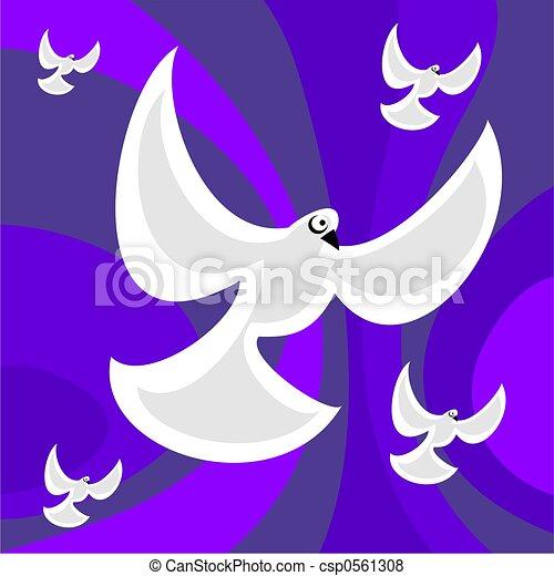 funky retro doves - csp0561308