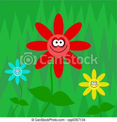 funky retro flowers - csp0357134