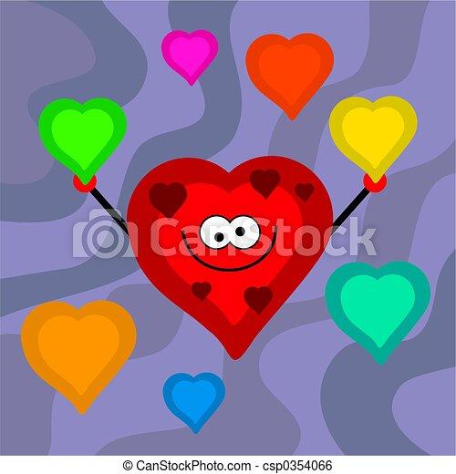 funky retro hearts - csp0354066