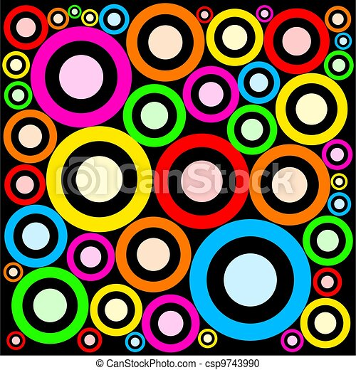 Funky Retro Rings Abstract Pattern - csp9743990