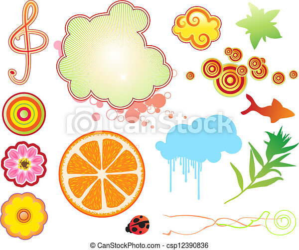 funky summer design elements - csp12390836