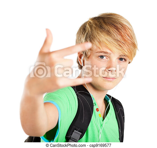 Funky Teen Boy Giving Hand Sign