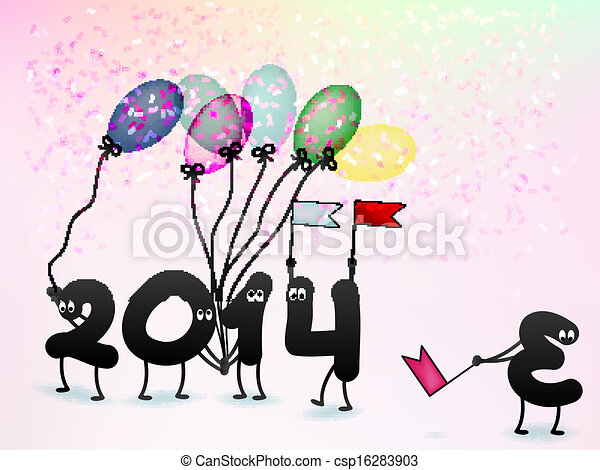 Funny 2014 new year\'s eve greeting card. + eps10 vector file.