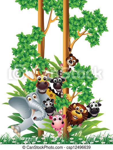 funny animal cartoon collection  - csp12496639