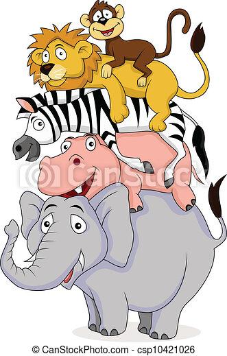 Funny animal cartoon - csp10421026