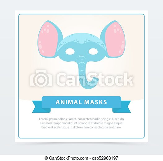 Funny Animal Face Of Blue Elephant With Big Ears Fancy Children S
