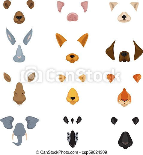 Funny animal faces for phone video chart app. cartoon ...