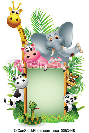 funny animal with blank sign - csp10053448