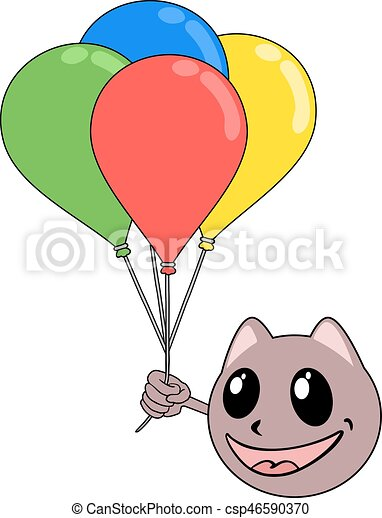 funny animal with color balloons - csp46590370