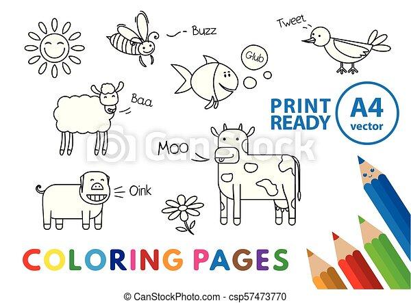 Funny Animals Coloring Book - csp57473770