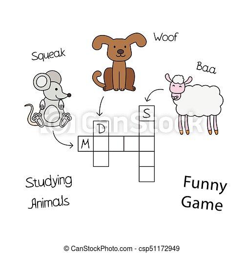 Funny Animals Crossword For Children