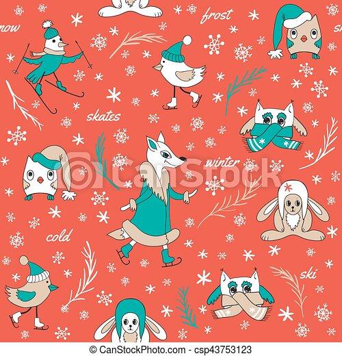 Funny animals in winter - csp43753123