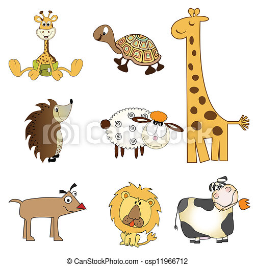 funny animals drawings  Funny animals items set in vector format, isolated on white background.