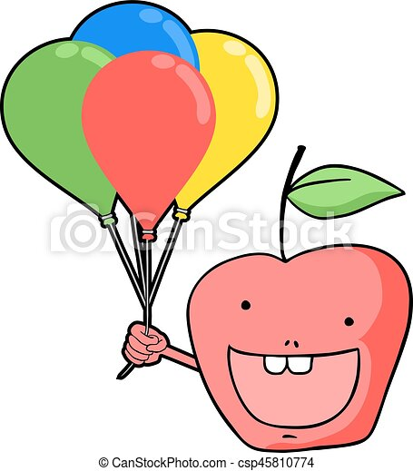 funny apple with color balloons - csp45810774