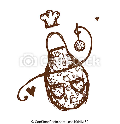 Funny apron with kitchen utensils sketch for your design - csp10646159