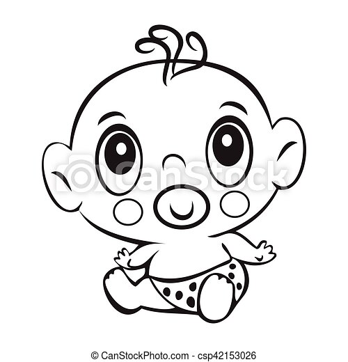Funny Baby Man Cute Baby Man Sitting In A Diaper Isolated For Coloring Book Design For Children S Books T Shirt Graphics Canstock