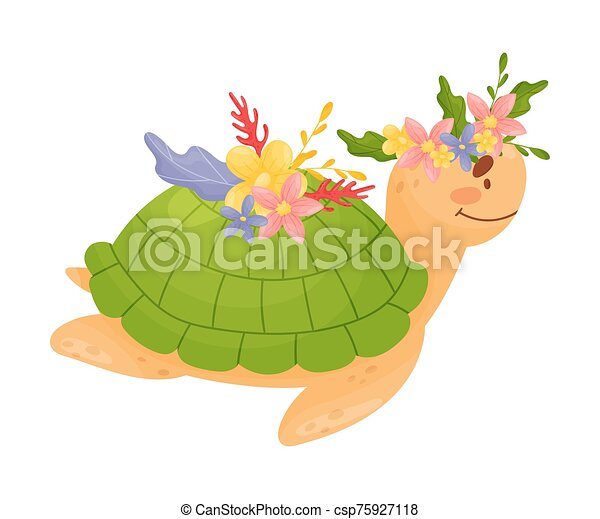 Funny Baby Sea Turtle Vector Illustration Cartoon Character Funny