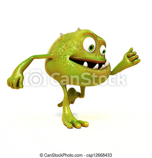 Funny bacteria toon character - csp12668433