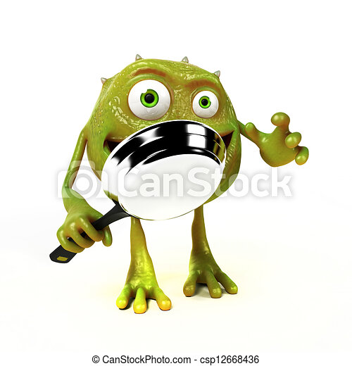 Funny bacteria toon character - csp12668436