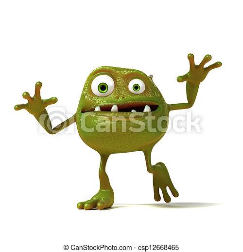 Funny bacteria toon character - csp12668465