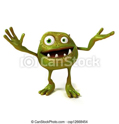 Funny bacteria toon character - csp12668454
