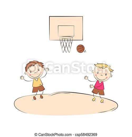 Funny Basketball Players Happy Cartoon Boys Playing Basketball Kids Sport Activity Vector Illustration
