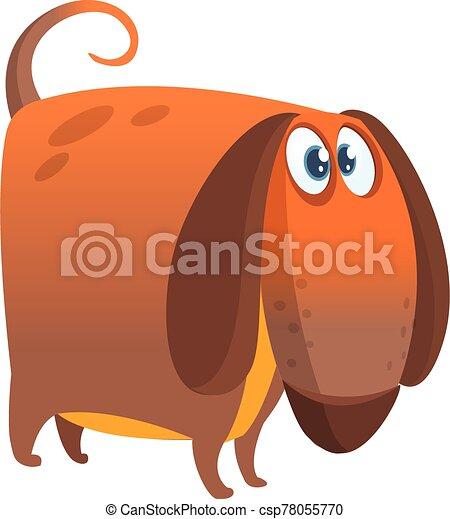 Funny beagle dog cartoon illustration. - csp78055770