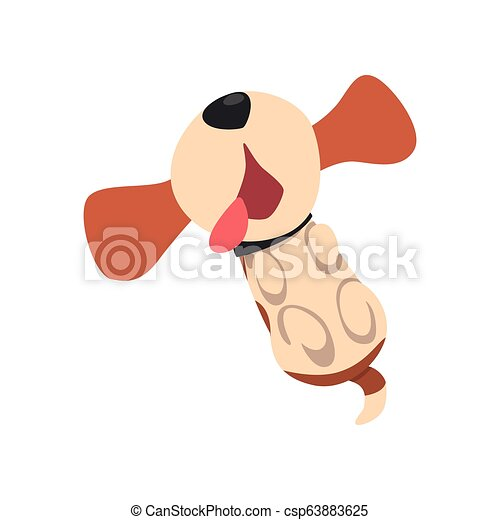 Funny beagle dog lying on his back with tongue hanging out, cute funny animal cartoon character vector Illustration on a white background - csp63883625