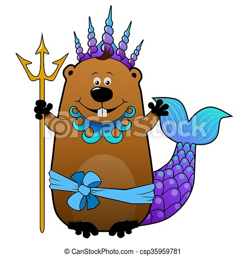 funny beaver neptune poseidon funny cartoon beaver in stock rh canstockphoto com beaver clipart images beaver clip art pictures free
