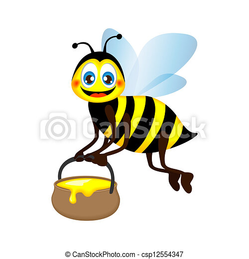 funny bee carrying a jar of honey - csp12554347