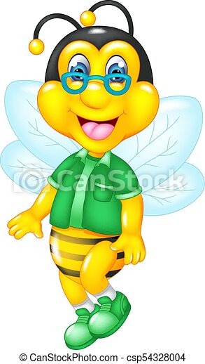 Vector Illustration Of Funny Bee Cartoon Flying With Smile