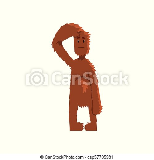 Funny bigfoot looking ahead into the distance, mythical creature cartoon character vector Illustration on a white background - csp57705381