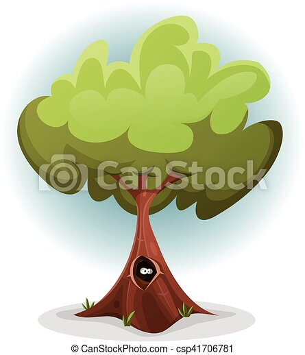 Funny Bird Or Squirrel Nest inside Tree Trunk - csp41706781