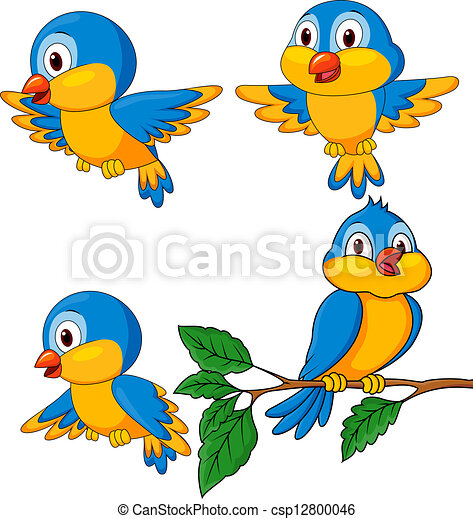 Funny birds cartoon set - csp12800046