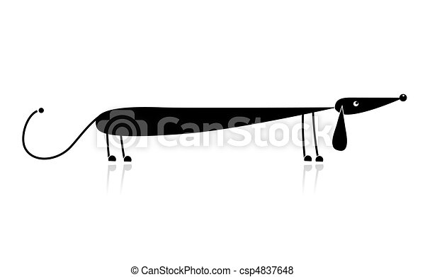 Funny black dachshund silhouette for your design - csp4837648