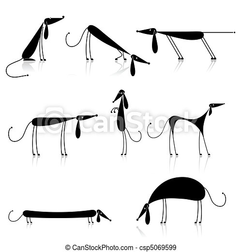 Funny black dogs silhouette, collection for your design - csp5069599