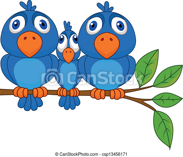 Funny blue bird cartoon - csp13456171