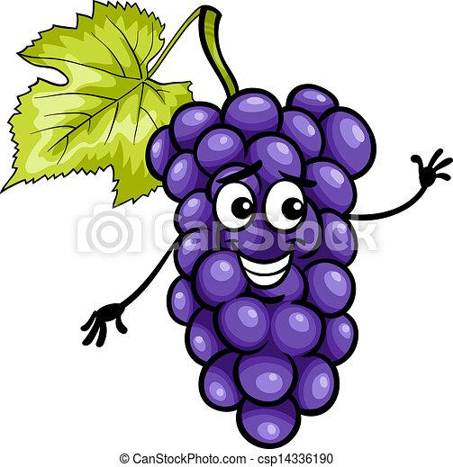 funny blue grapes fruit cartoon illustration - csp14336190