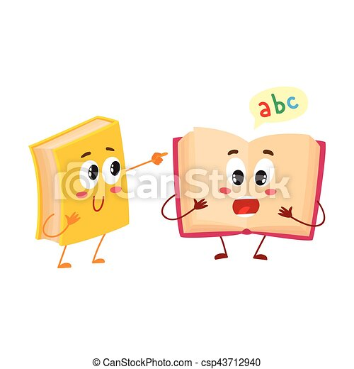 Funny book character running with bookmark ribbon visible - csp43712940