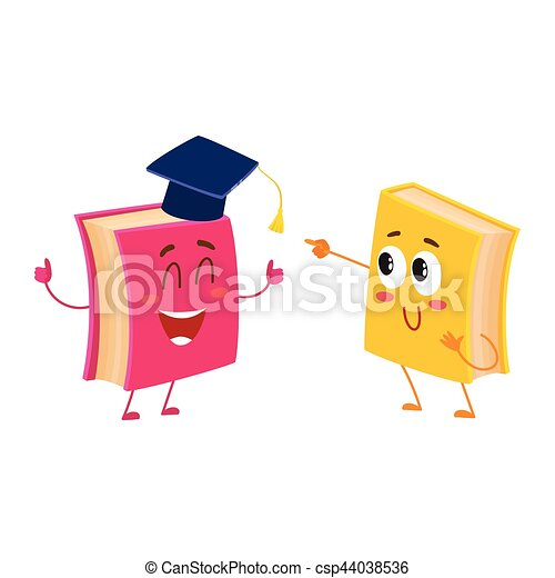 Funny book character running with bookmark ribbon visible - csp44038536